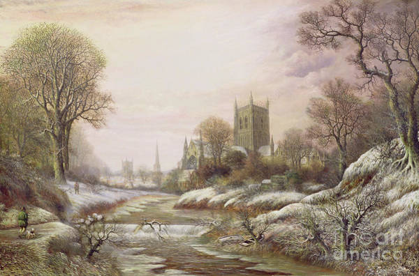 Snow Bank Painting - Worcester From The South West In The Snow by Charles Leaver