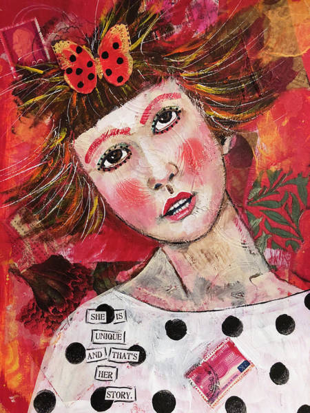 Fun Mixed Media - She Is Unique by Lynn Colwell