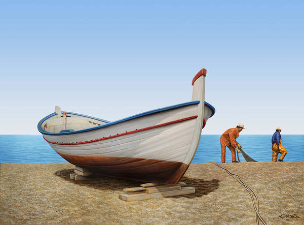 Fishing Boat Painting - Work In Progress by Horacio Cardozo