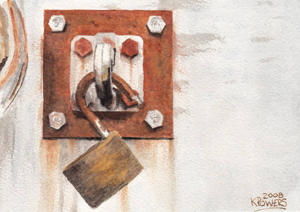 Painting - Work Trailer Lock Number Two by Ken Powers