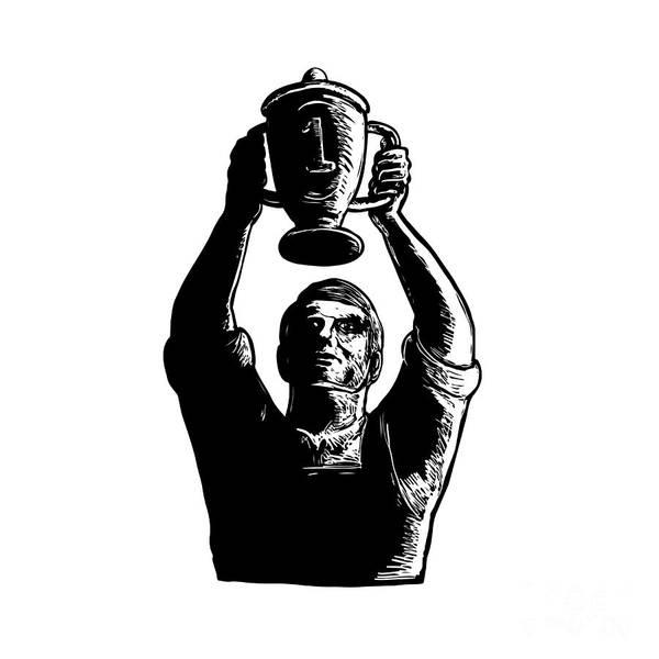 Scratchboard Wall Art - Digital Art - Worker Lifting Championship Cup Scratchboard  by Aloysius Patrimonio