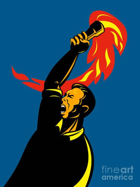 Revolting Digital Art - Worker With Torch by Aloysius Patrimonio