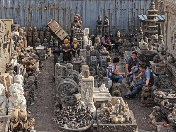 Photograph - Workers At A Sculpture Dealer, Beijing 2011 by Chris Honeyman