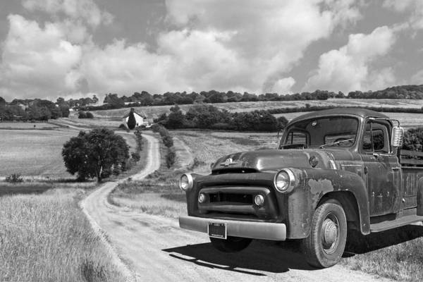 Photograph - Down On The Farm- International Harvester In Black And White by Gill Billington