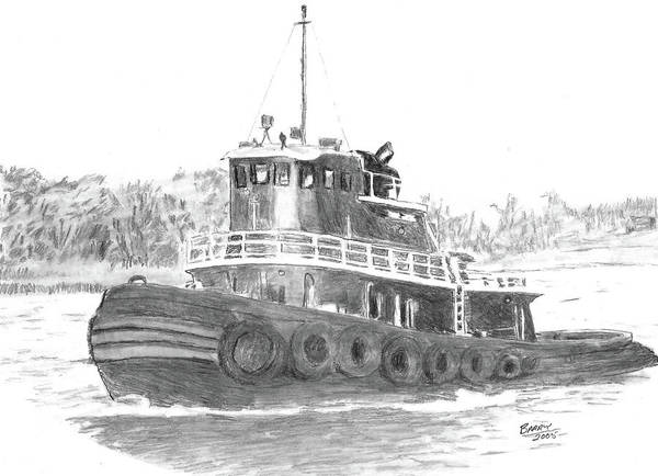 Drawing - Workhorse Of The River by Barry Jones