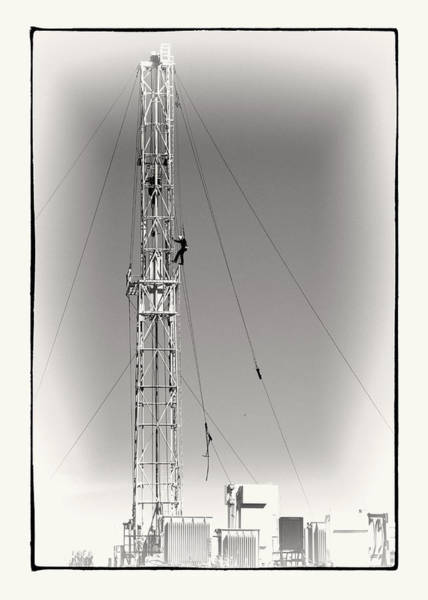 Wall Art - Photograph - Working On An Oil Derrick  Black And White Photograph by Ann Powell