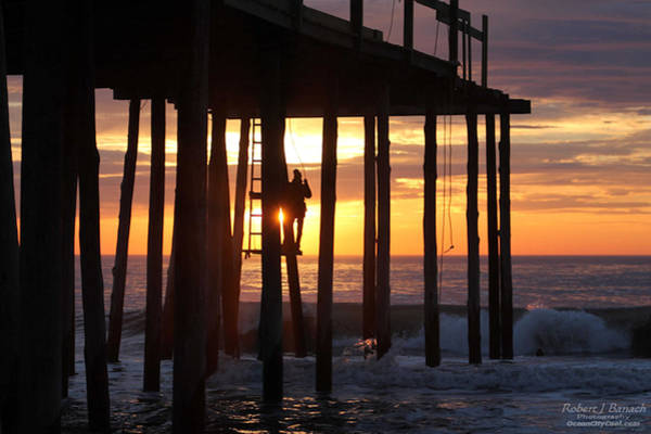 Photograph - Working On The Pier At Dawn by Robert Banach