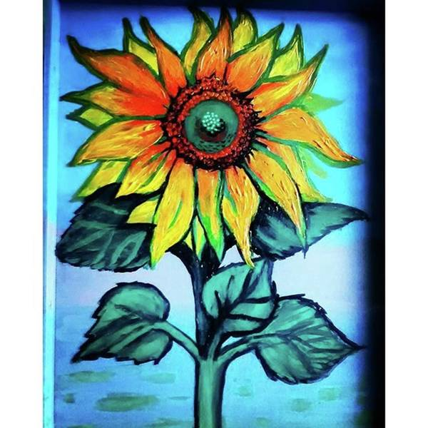 Working On This Sunflower. #sunflower Art Print