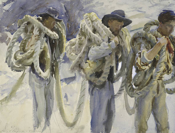 Burden Wall Art - Drawing - Workmen At Carrara by John Singer Sargent