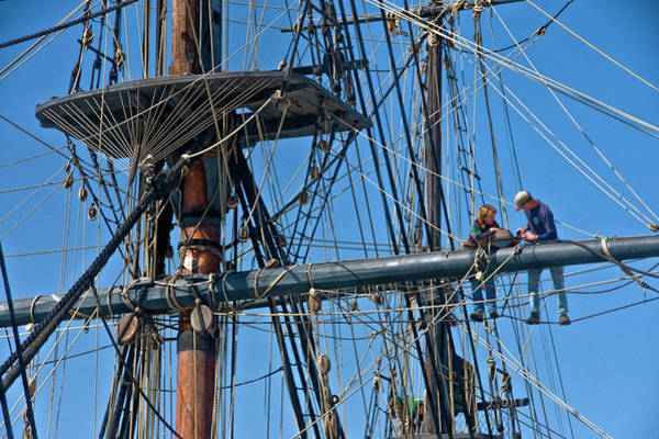 Photograph - Workmen On The Masts And Rigging Of The Historical Boat The Star Of India by Randall Nyhof