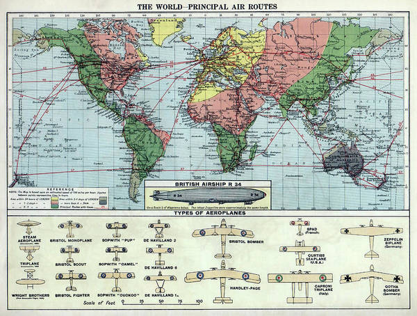 Wall Art - Photograph - World Air Routes Map  1920 by Daniel Hagerman