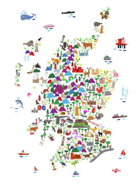 Digital Art - world animal map A1 can by Michael Tompsett