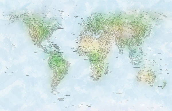 Map Painting - World Cities Map by Michael Tompsett