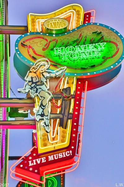 Photograph - World Famous Honky Tonk Nashville Sign by Lisa Wooten