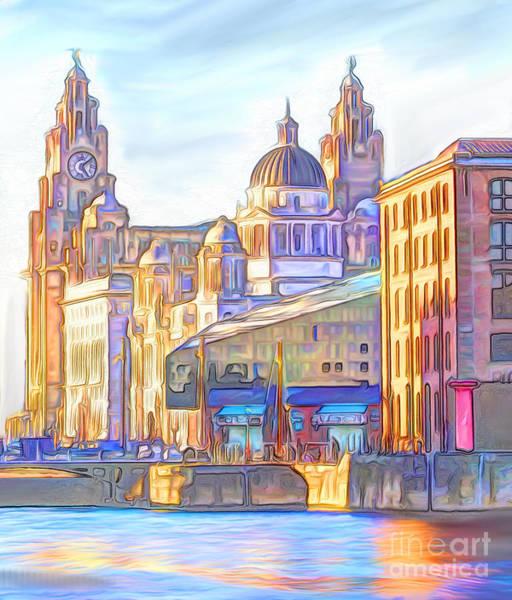 Liverpool Skyline Digital Art - World Famous Three Graces by John Wain