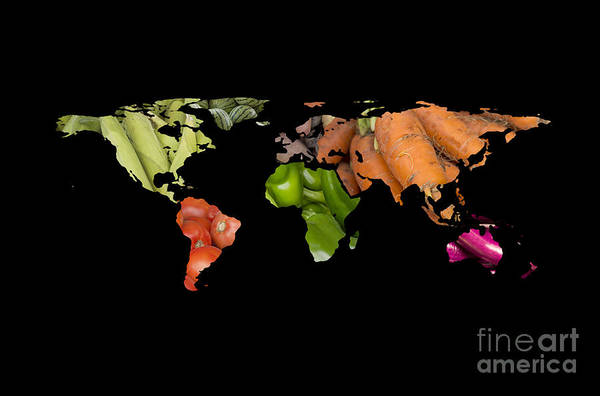 Watermellon Wall Art - Photograph - World Fruits Vegetables Map by Ezume Images