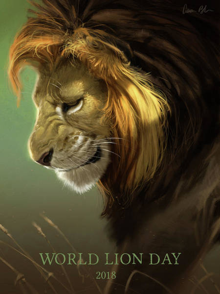 Big Cat Digital Art - World Lion Day 2018 by Aaron Blaise