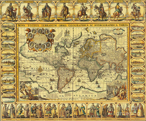 Photograph - World Map 1626 by Photo Researchers