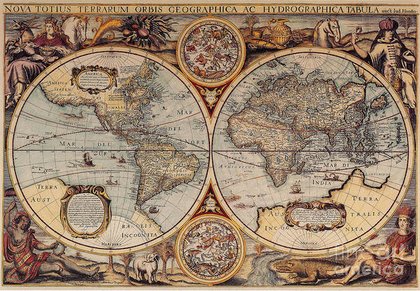 Cartography Photograph - World Map 1636 by Photo Researchers