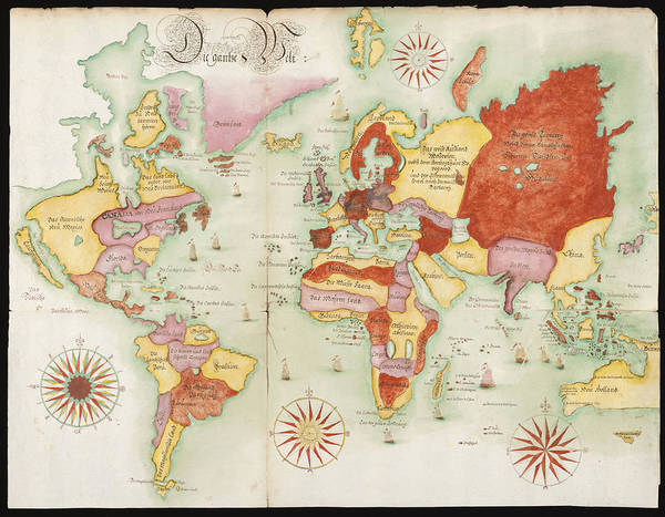 Wall Art - Photograph - World Map 1675 German by L Brown