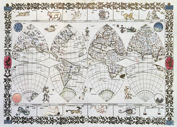 Photograph - World Map, 16th Century by Granger