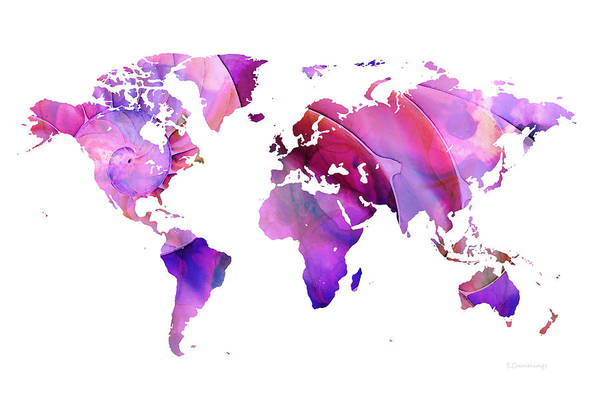 Wall Art - Painting - World Map 20 Pink And Purple By Sharon Cummings by Sharon Cummings