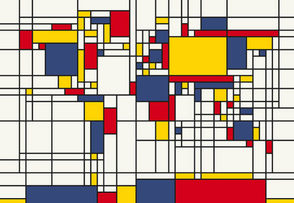 Square Wall Art - Digital Art - World Map Abstract Mondrian Style by Michael Tompsett