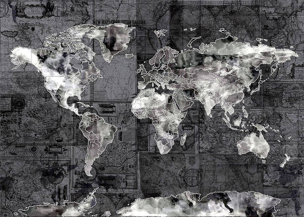 Wall Art - Painting - World Map Black And White 3 by Bekim M