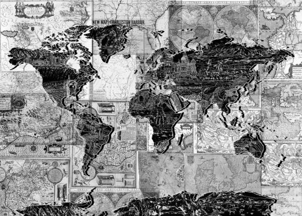 Wall Art - Painting - World Map Black And White by Bekim M
