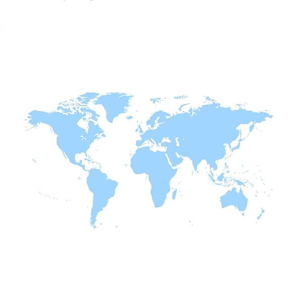 Digital Art - World Map - Blue by Marianna Mills