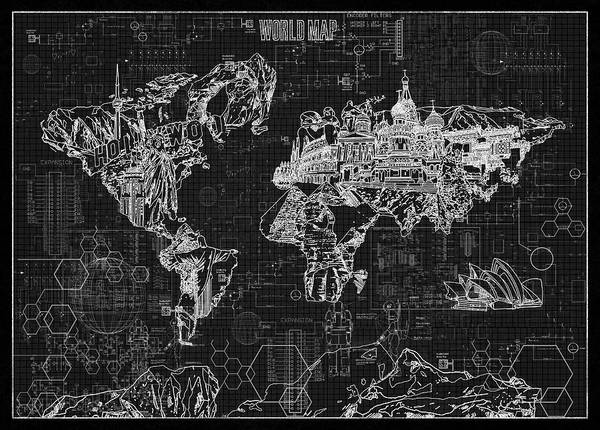 Europe Map Digital Art - World Map Blueprint 2 by Bekim Art
