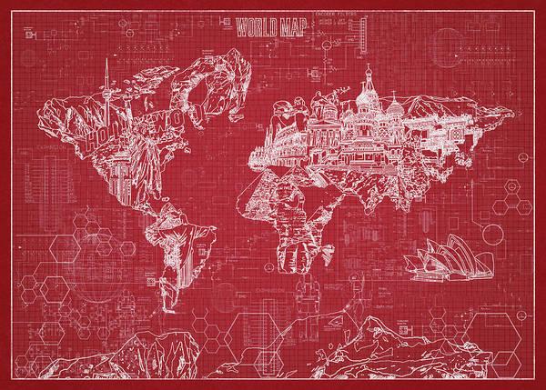 Wall Art - Digital Art - World Map Blueprint 3 by Bekim M