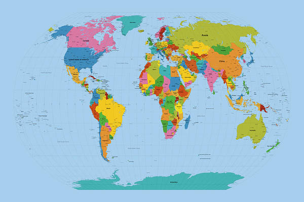 World Map Digital Art - World Map Bright by Michael Tompsett