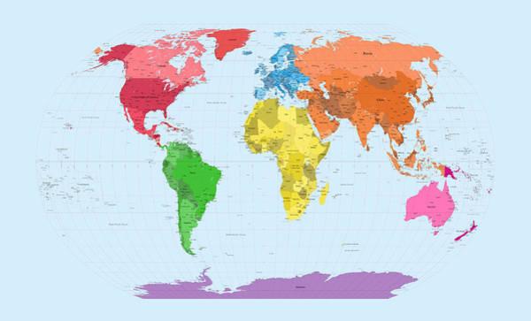 Continental Wall Art - Digital Art - World Map Continents by Michael Tompsett