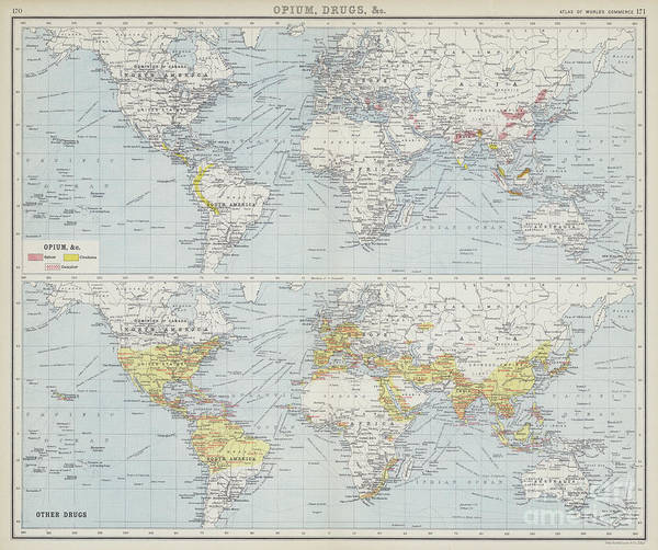 Wall Art - Drawing - World Map Depicting Drug Trade And Production by English School