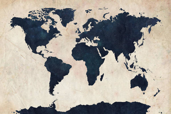 Wall Art - Digital Art - World Map Distressed Navy by Michael Tompsett