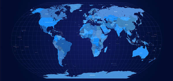 Atlas Digital Art - World Map In Blue by Michael Tompsett