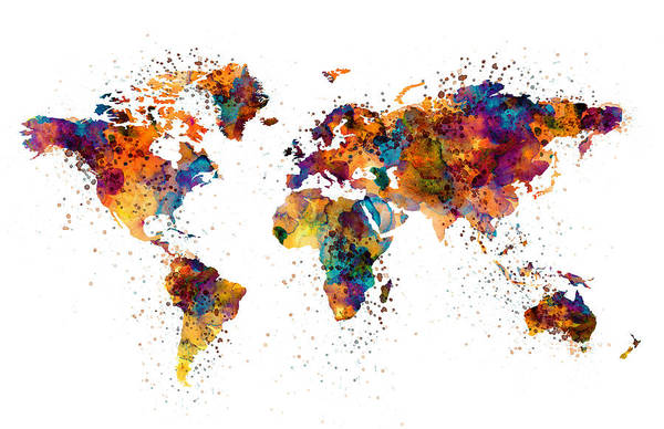 Wall Art - Painting - World Map by Marian Voicu