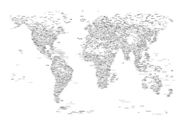 Atlas Digital Art - World Map Of Cities Typography Map by Michael Tompsett