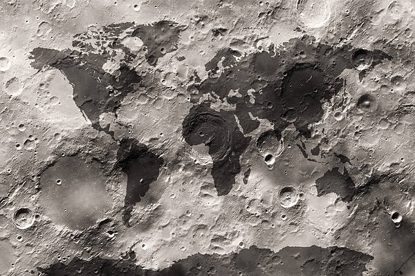 Map Wall Art - Digital Art - World Map On The Moon's Surface by Michael Tompsett