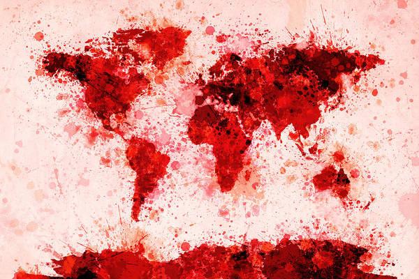 Splash Digital Art - World Map Paint Splashes Red by Michael Tompsett