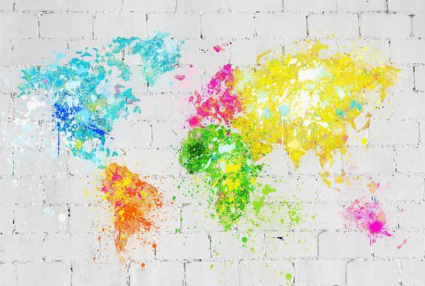 Wall Art - Painting - World Map Painting On Brick Wall by Setsiri Silapasuwanchai