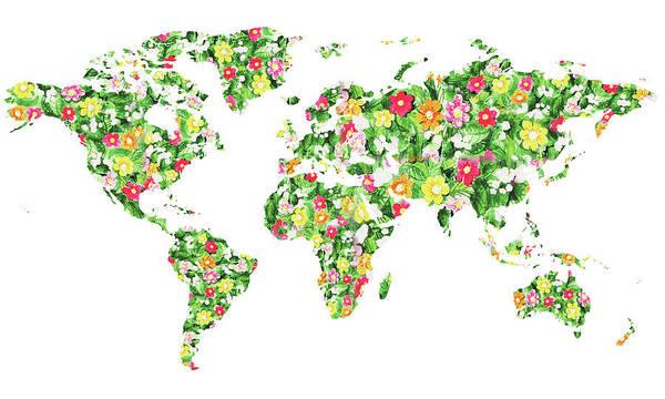 Painting - World Map Silhouette Flowers by Irina Sztukowski