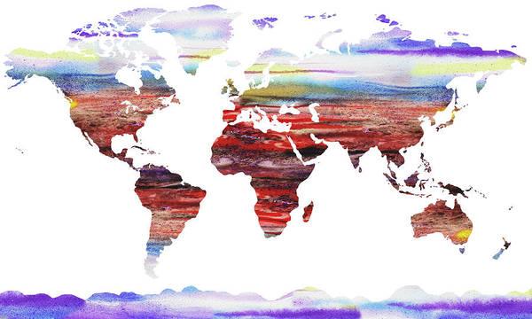 Painting - World Map Silhouette Watercolour by Irina Sztukowski