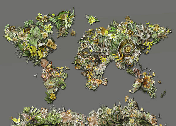 Maps Of Europe Digital Art - World Map Tropical Leaves 2 by Bekim Art
