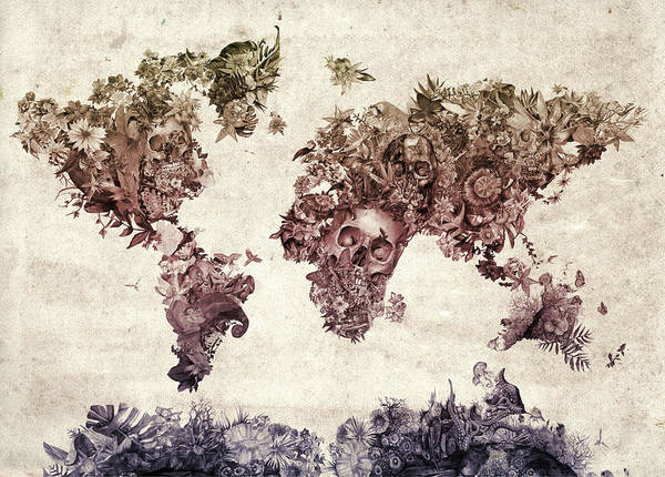 Europe Map Digital Art - World Map Tropical Skull Leaves 3 by Bekim Art