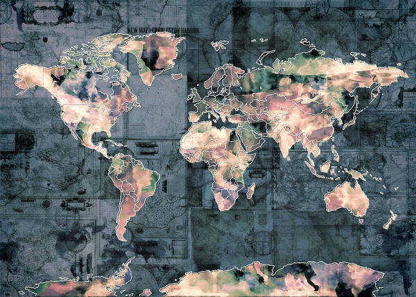 Wall Art - Painting - World Map Vintage 3 by Bekim M