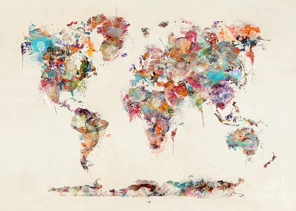 Wall Art - Painting - World Map Watercolor by Bri Buckley