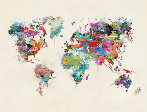 Map Painting - World Map Watercolor by Bri Buckley