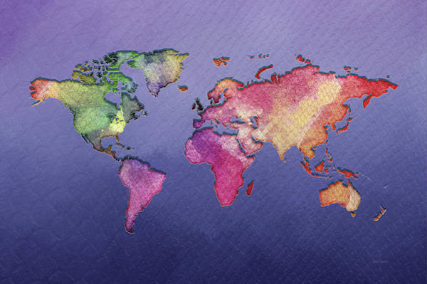 Painting - World Map -  Watercolor by Ericamaxine Price